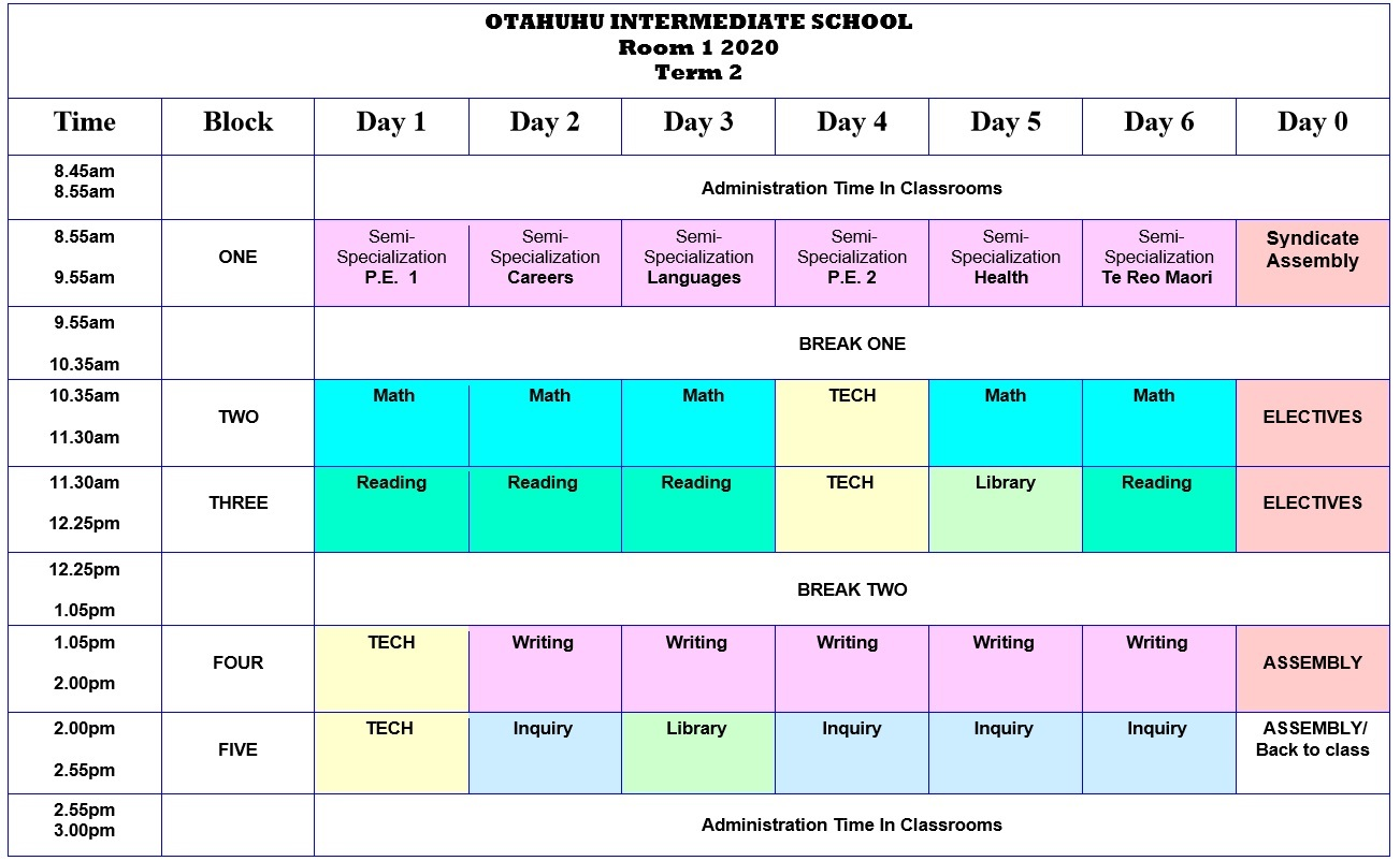 Room 1 Class Timetable