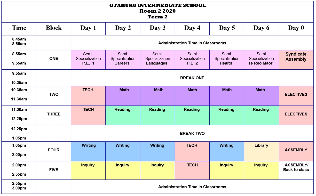Room 2 Class Timetable