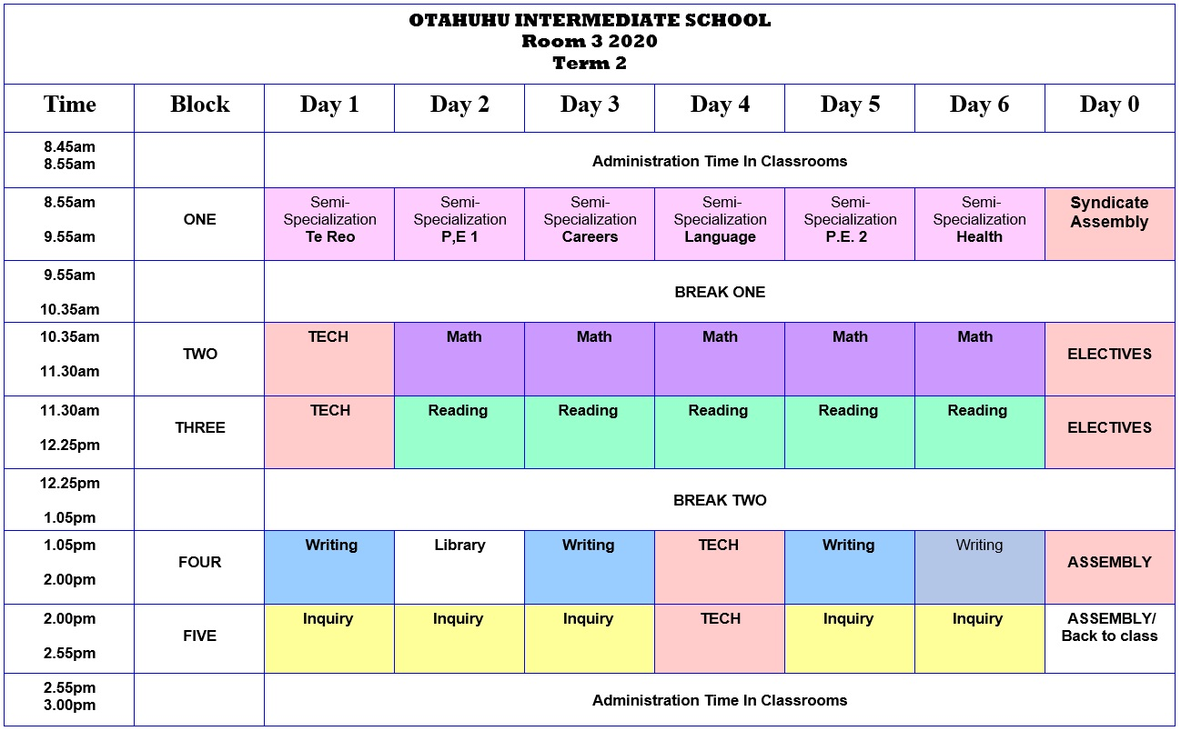 Room 3 Class Timetable