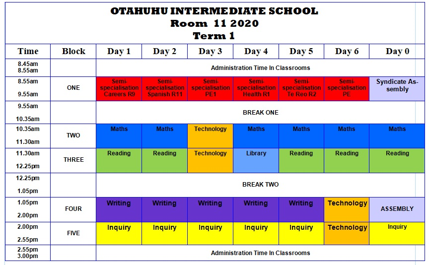 Room 11 Class Timetable