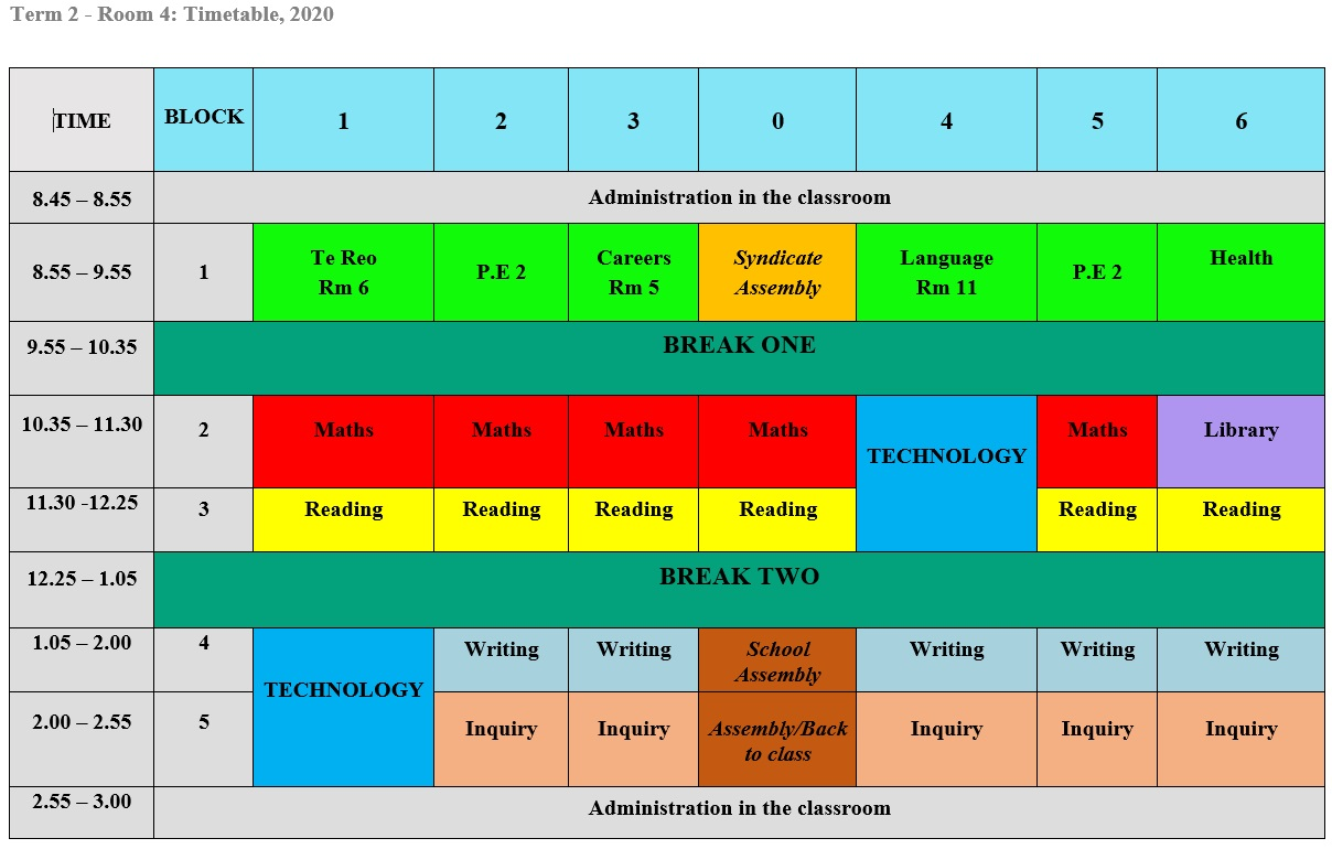 Room 4 Class Timetable