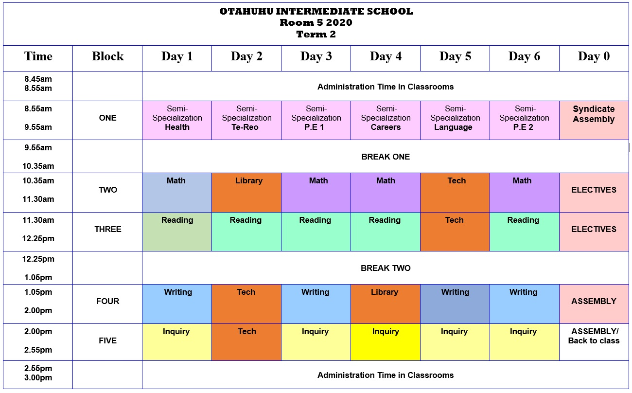Room 5 Class Timetable
