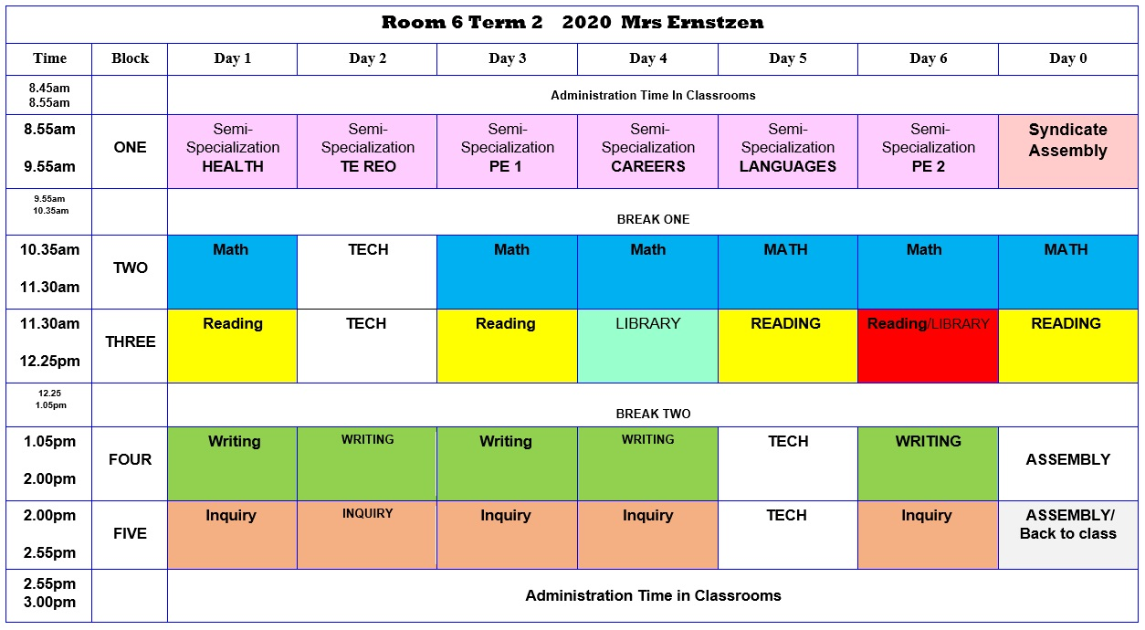 Room 6 Class Timetable