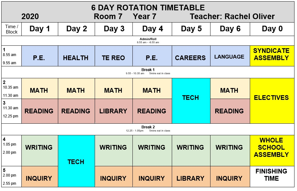 Room 7 Class Timetable