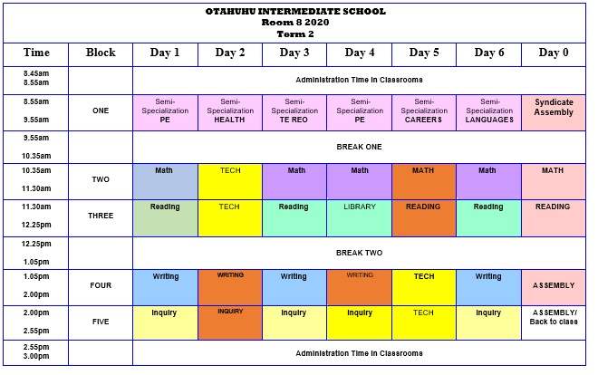 Room 8 Class Timetable